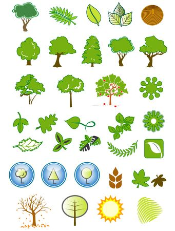 arboles de caricatura: Una colecci�n de iconos de Ecolog�a natural y elementos de dise�o