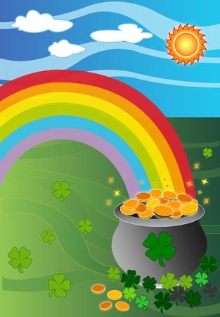 Pot met goud aan het einde van de regenboog illustratie met klaver Vector Illustratie