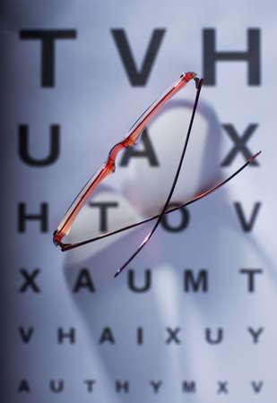 sight chart: Gafas de fuera de foco vista gr�fico Foto de archivo