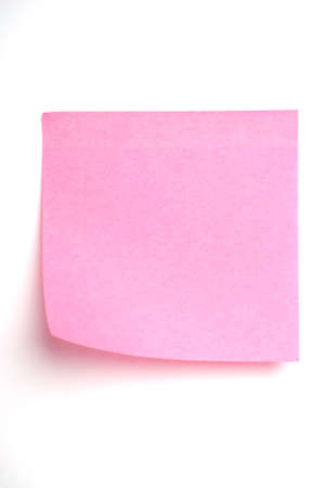 Pink post it note isolated on white Stock Photo - 4232652