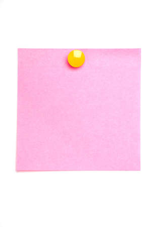 Pink post it note isolated on white with yellow drawing pin Standard-Bild