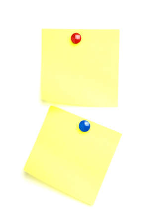 notelet: 2 Post it notes with drawing pins. Isolated on white.