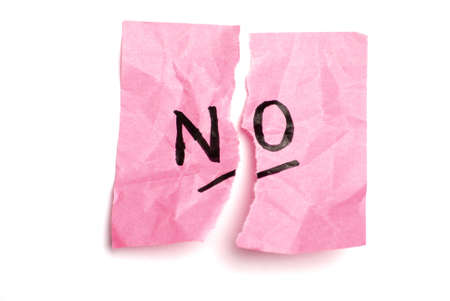 notelet: Pink post it note isolated on white and torn in half with no written. Stock Photo