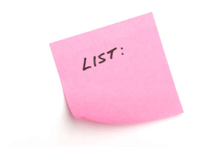 Pink post it note isolated on white with word