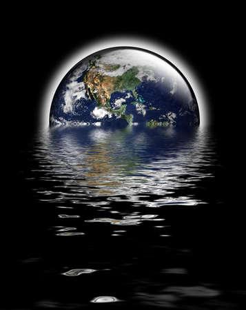 Tierra como globo con iluminaciones y resplandor de calor. Las inundaciones para reflejar la cuesti�n ambiental del nivel del mar sube y el calentamiento global. Http:earthobservatory.nasa.gov de cortes�a de dominio p�blico de imagen de la tierra