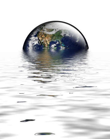 Earth as globe with highlights on white. Flooding to reflect environmental issue of sea level rises and global warming. USA featured. Earth image public domain courtesy http://earthobservatory.nasa.gov/  Standard-Bild