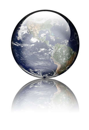 Tierra como globo con iluminaciones y reflexiones. Aislados en blanco. Http:earthobservatory.nasa.gov de cortes�a de dominio p�blico de imagen de la tierra  Foto de archivo