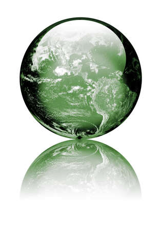 Earth as globe with highlights and reflections. Green to reflect environmental issues Isolated on white. Earth image public domain courtesy http:earthobservatory.nasa.gov  Stock Photo