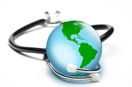 Concept for world healthcare, looking after the planet. Isolated on white. Focus on globe.