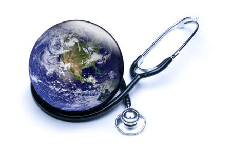 Concept for global medicine with stethoscope reflected in shiny Earth. Isolated on white. Globe public domain courtesy http:visibleearth.nasa.gov