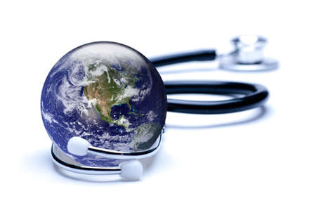 Concept for global medicine. Isolated on white. Globe public domain courtesy http:visibleearth.nasa.gov Stock Photo