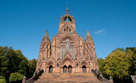 Thomas Coats Memorial Church in Paisley, Scotland. This red sandstone church was funded by a textile industrialist whose mills dominated the town. Generations of stonemasons served their apprenticeships on its construction. Stock Photo