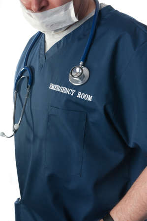 emergency room: Doctor thinking with mask and stethoscope in emergency room