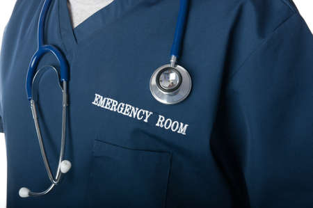 Emergency room doctor or nurse close up with stethoscope  Stock Photo