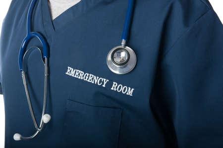 M�dico de la sala de emergencias o enfermera cerrar con el estetoscopio  Foto de archivo