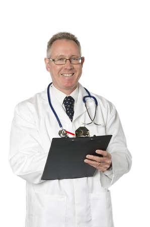 Male doctor isolated on white smiles as he takes notes on a clipboard photo