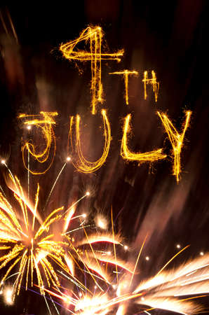 Pink and gold fireworks display with 4th July written in sparklers