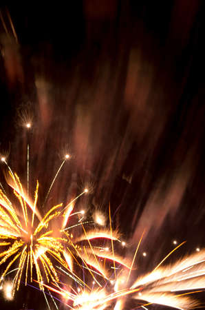 Golden fireworks burst and copy space suitable for New Year, 4th July, Bastille Day, wedding