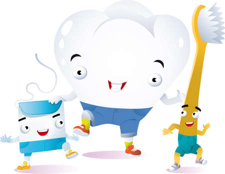a tooth toothbrush and dental floss animated walk happy