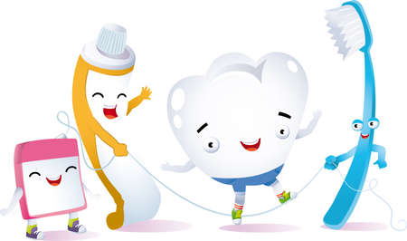 a tooth playing jumping rope with her best friends for dental hygiene 向量圖像