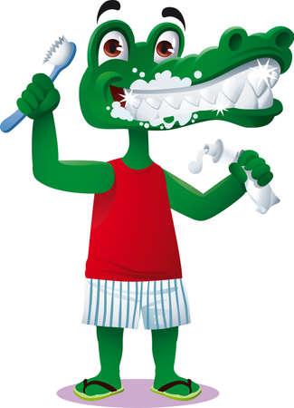 een krokodil glimlacht tijdens het tandenpoetsen met tandpasta