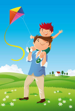 father and son walking happy and they fly a kite