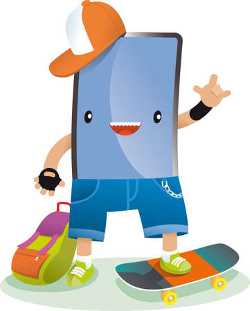a skate technology with backpack and hat Stock Vector - 21349665