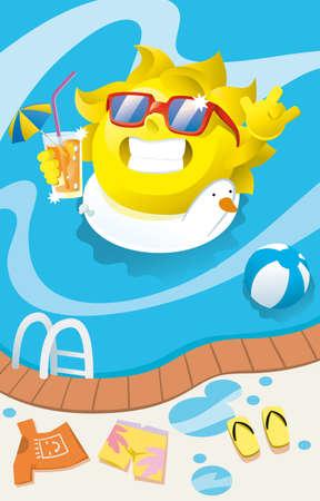 natacion: el sol bebiendo un cóctel en la piscina