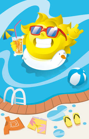 the sun drinking a cocktail in the pool Vector