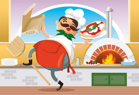 cheerful restaurant owner with a pizza on the plate Illustration