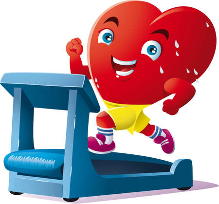 an animated heart run on the treadmill