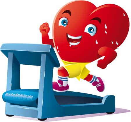 an animated heart run on the treadmill