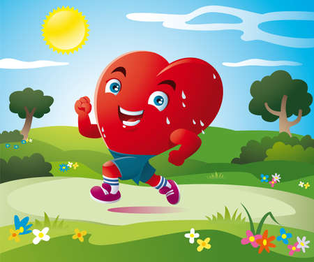 a stylized heart runs happily in the green fields