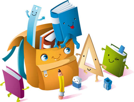 a backpack with books, pencils and notebooks in cartoon style Illustration