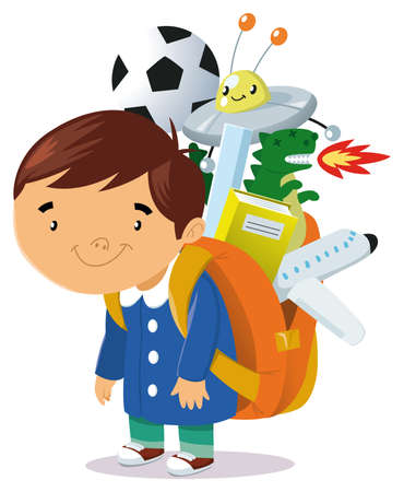 a child with a backpack goes to school backpack is full of books and toys