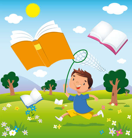 children reading: a child running through the fields in bloom chasing flying books