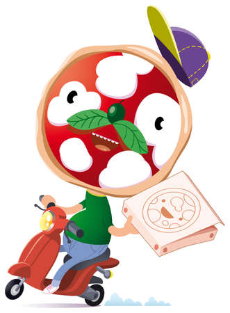character with a face like a pizza delivery pizza in town at home Vector