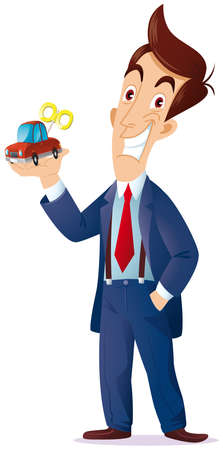a sales representative with a toy car in his hand, I want to express the concept is as follows  for you the machine is a game or a working tool  向量圖像