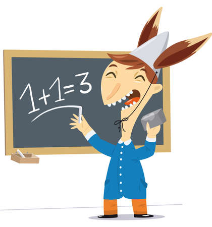 illustration of a child with a hat with ears of a donkey makes a math wrong. Illustration