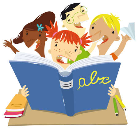 spelling: children of various ethnic groups read a great book to school as they play together
