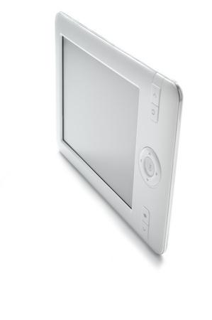 現代電子本ホワイト バック グラウンド (垂直)。 写真素材