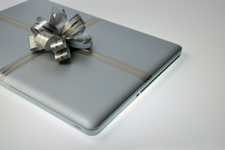 laptop (computer) like a present on any holiday.  photo