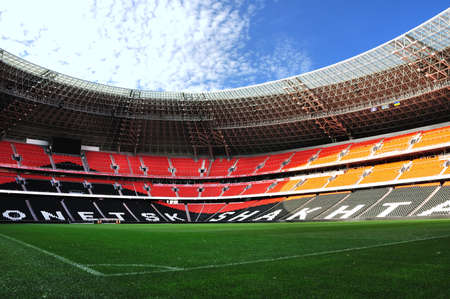 donbass: The Donbass-arena (Donetsk, Ukraine) is the first stadium in Eastern Europe designed and built to UEFA elite standards.  Stock Photo