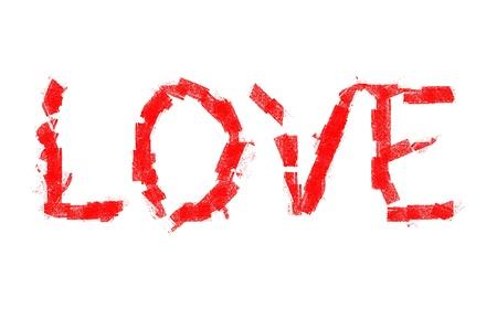 白い背景の上の愛の言葉