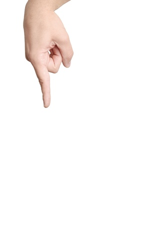 Human hand. Concept - finger pushing on the button or showing on object. Stock Photo - 10278023