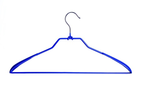 coat hanger: blue clothes hanger isolated over white background