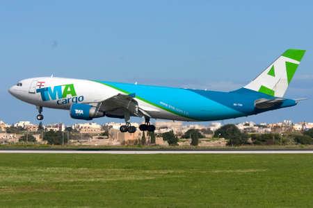 Luqa, Malta - January 7, 2012: Trans Mediterranean Airways - TMA Cargo Airbus A300F4-622R landing runway 31.