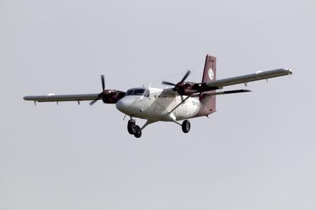 31: Luqa, Malta - January 31, 2015: Petro Air De Havilland Canada DHC-6-300 [5A-DAS] Twin Otter on short finals runway 31, arriving from Libya. Editorial