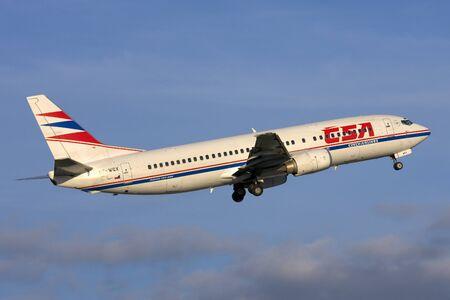 departing: Luqa, Malta - November 20, 2007: CSA - Czech Airlines Boeing 737-436 [OK-WGX] departing Malta runway 13.