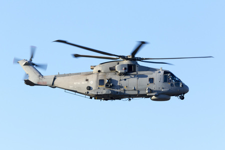 raf waddington: Luqa, Malta 20  July 2016: Royal Navy Agusta-Westland Merlin HM.1 [ZH843] departing runway 13 after a fuel stop.